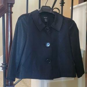 Shimmery Black Flared Feminine Pocketed Jacket